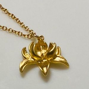 Jewelry - Gold Lotus Flower Necklace- 3 dimensional